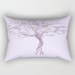 Quiet Acacia Zen Tree , Earthy African Bonsai Peace Lavendar Purple Rectangular Pillow