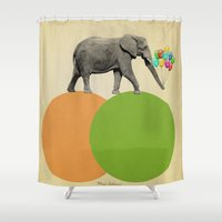 elephant Shower Curtains featuring elephant  by mark ashkenazi