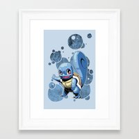 squirtle Framed Art Prints featuring Squirtle by Yamilett Pimentel