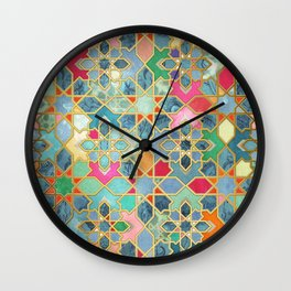 Gilt & Glory - Colorful Moroccan Mosaic Wall Clock