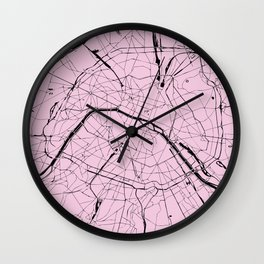 Paris France Minimal Street Map - Pretty Pink on Black Wall Clock