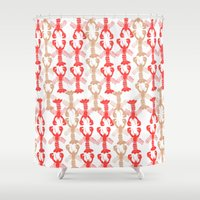lobster Shower Curtains featuring Lobster Print by Bouffants and Broken Hearts