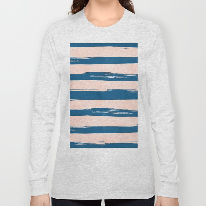 Trendy Stripes - Sweet Peach Coral on Saltwater Taffy Teal Long Sleeve T-shirt