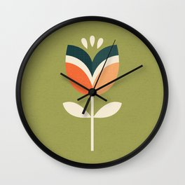 RETRO TULIP - ORANGE AND OLIVE GREEN Wall Clock