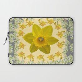 CREAMY SPRING DAFFODILS & FLOWERS GREY GARDEN Laptop Sleeve