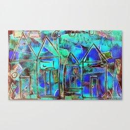 Neon Blue Houses Canvas Print