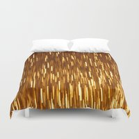 gold glitter Duvet Covers featuring Gold Glitter 1394 by Cecilie Karoline