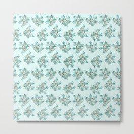 Gumnuts, Blue Green Terracotta on Eggshell Blue Metal Print