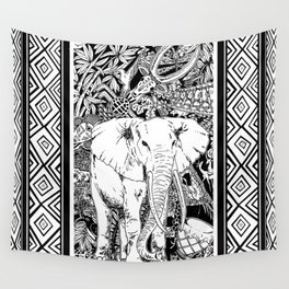 White Elephant Indian Ink Tribal Art Wall Tapestry
