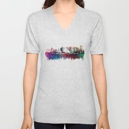 Thessaloniki skyline city blue Unisex V-Neck