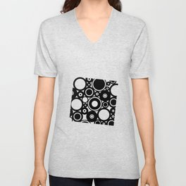 Retro Black White Circles Pop Art Unisex V-Neck