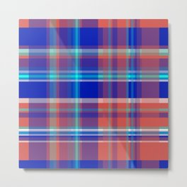 Striped 2X Blue and Red Metal Print
