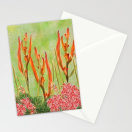 Tropical Floral Malaysian Border Print Stationery Cards