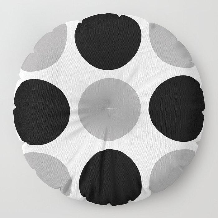 Mid Century Modern Polka Dot Pattern 9 Black and Gray Floor Pillow