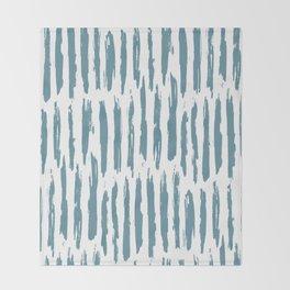Vertical Dash Teal on White Throw Blanket