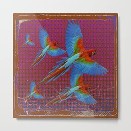 TROPICAL BLUE MACAWS MAROON-BROWN ART Metal Print