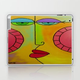 Funky Face Abstract Digital Painting Laptop & iPad Skin