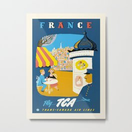 Vintage travel poster-Trans-Canada Air lines-France. Metal Print