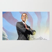 obama Area & Throw Rugs featuring Barack Obama by Storm Media