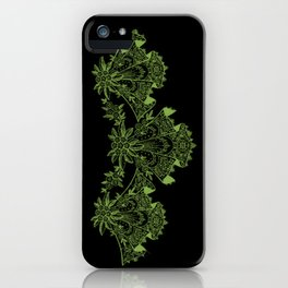 Vintage Lace Hankies Black and Greenery iPhone Case