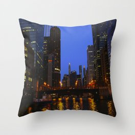 Lights Strike Gold on Chicago River (Chicago Architecture Collection) Throw Pillow