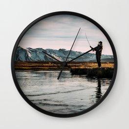 Flyfishing & Mountains Wall Clock