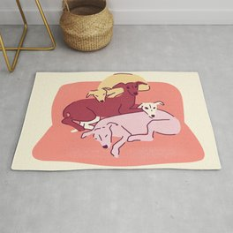 4 Italian Greyhounds Resting on a Coral Sofa - Cute Iggy Dogs - Yellow, Pink and Dark Red Rug