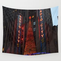 radio Wall Tapestries featuring Radio City Music Hall at Christmastime by Sarah Shanely Photography