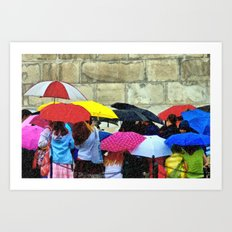 Standing in a Pouring Rain Art Print