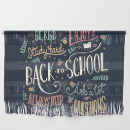 Back to school colorful typography drawing on blackboard with motivational messages, hand lettering Wall Hanging