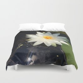 Naturals by Nikki - White Water Lily (open) Duvet Cover