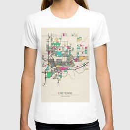 Colorful City Maps: Cheyenne, Wyoming T-shirt
