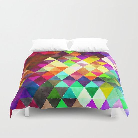 Vibrant Triangles Pattern 02 Duvet Cover