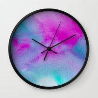 aurora Wall Clocks featuring Aurora by elena + stephann