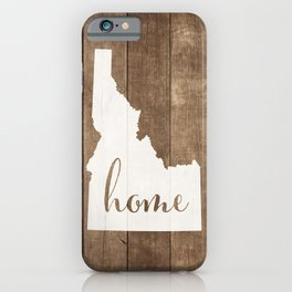 Idaho is Home - White on Wood iPhone Case