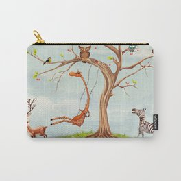 Tree with animals.Bunch of cute little creatures gathered on the branches of tree Carry-All Pouch