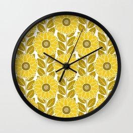 Sunflower Garden in Yellow Gold Wall Clock