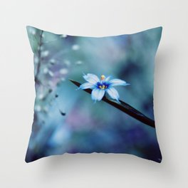Blue on blue Flower Photography, Symphony in Blue Throw Pillow