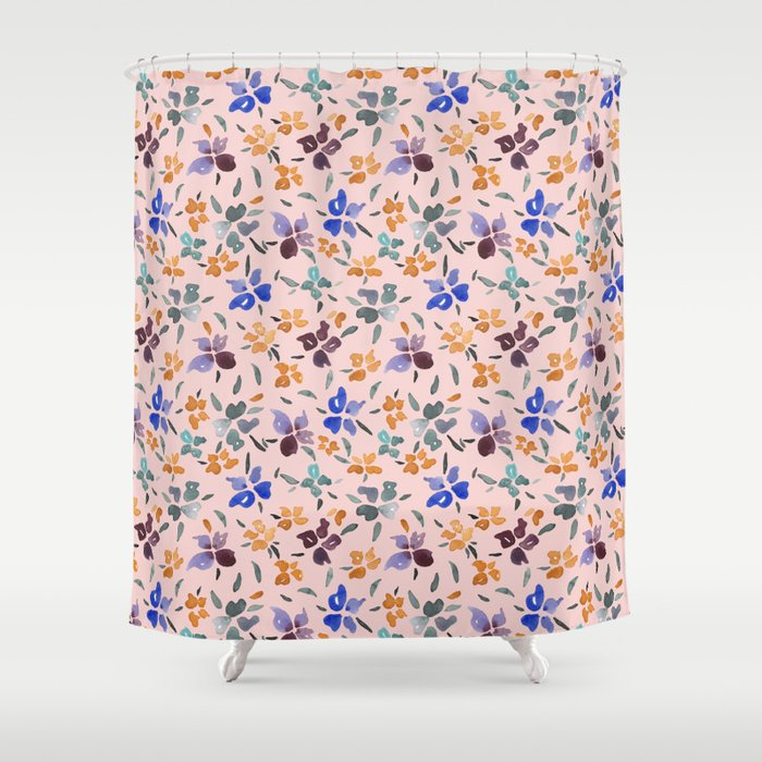 Peachy Watercolor Floral Shower Curtain