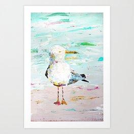 Seagull - Acrylic Palette Knife on Wood  Art Print