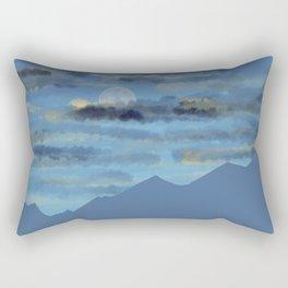 Moon over blue mountains Rectangular Pillow