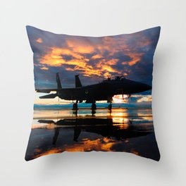 Fighter Jet Airplane at Sunset Military Gifts Throw Pillow