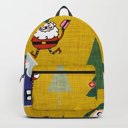 Santa Claus Yellow #Christmas #Holiday Backpack