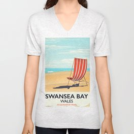 Swansea Bay Wales Seaside poster Unisex V-Neck