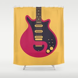 Glam Rock 70s Electric Guitar - Gold Shower Curtain