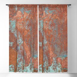 Tarnished Metal Copper Texture - Natural Marbling Industrial Art Blackout Curtain