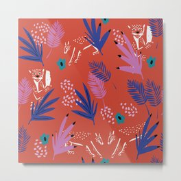 Leopards in a pop jungle II // animals print collection // surface pattern design Metal Print
