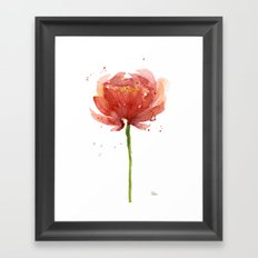 Red Flower Watercolor Floral Painting Framed Art Print