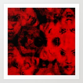 TV Nightmare - Faces RED Art Print