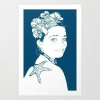 marianna Art Prints featuring Hermosa Marianna by Alef